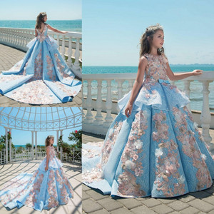2018 Blue Lace Girls Pageant Dresses Ball Gown Children Birthday Holiday Wedding Party Dresses Teenage Princess Toddler Dresses Sweep Train