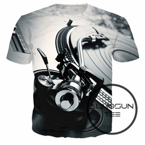 Wholesale- ALMOSUN Technics Turntable DJ Music Audio Books 3D All Over Print T Shirts Short Sleeve Fashion Summer Hip Hop Tee Women Men