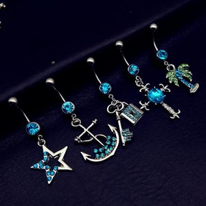 Wholesale 5pcs mix style vintage blue star cross anchor tree key lock dangle navel belly bar button rings body piercing jewelry sets
