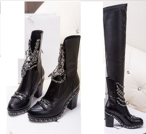 Wholesale Women Genuine Leather Over The Knee Metal Chains Boots Spring Autumn Woman High Heels Boots Plus Size SXQ0604