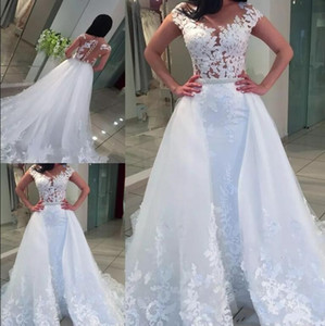 Wholesale glamorous robes for sale - Group buy Glamorous Lace Appliques Cap Sleeves Wedding Dresses with Detachable Chapel Train Illusion Bodices Bridal Gowns Robe De Mariage