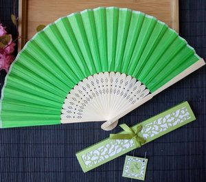 Wholesale Wedding Favors Gifts Hand Fan Party Sweet Llight Yellow Silk Fold Fans Masquerade Supplies Eco Friendly sz C R