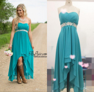 Wholesale Real Image Hot Country Western High Low Turquoise Bridesmaid Dresses Evening Party Gowns Hi-Lo Aqua Blue Chiffon Prom Dresses Crystal Sash