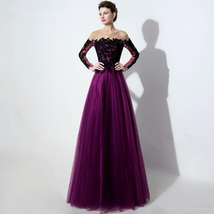 2017 Elegant Purple Tulle Evening Dress With Long Sleeve Black Embriodery Sheer Neck Floor Length Prom Party Gown Pageant Dress on Sale