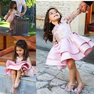Long Sleeves Pink Flower Girl Dresses Special Occasion For Weddings Backless Appliqued Kids Pageant Gowns Knee Length Party Communion Dress on Sale