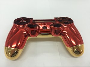 Wholesale New for Iron Man Version for Playstation PS4 Controller Housing Shell Case Cover Red Front+Gold Back Shell With Full Set Buttons