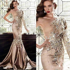 Wholesale Luxury Zuhair Murad Gold Evening Dresses Abaya In Dubai One Shoulder Rhinestone Gowns Muslim Long Sleeve Mermaid Prom Dresses