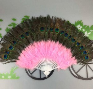 Wholesale 11 Colors Available Peacock Feather Fans Carnival Dance Fans Wedding Favor Gift Stage Dance Prop ZA4202