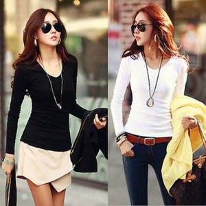 Wholesale Spring Womens Cotton T shirt Plain V Neck Ladies Long Sleeve Stretch T Shirt Top