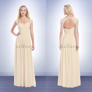 Wholesale gold bills resale online - Beach Bill Levkoff Bridesmaid Dress Champagne Sweetheart Neck Capped Sleeves Keyhole Back Cheap Wedding Party Dresses