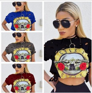 Wholesale Europe and America sexy women s short sleeve T shirt gun and rose band printed navel short T shirt