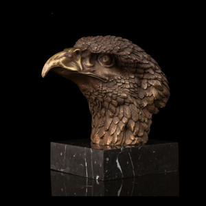 Wholesale Arts Crafts Copper Factory Supplier Bronze Statues Chinese FengShui Lucky Eagle Head Statue Modern Fortune Hawk Sculpture Brass