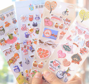 Wholesale Sheets Korea Stationery Owl D Album Cell Phone Decorative Stickers Happy Valentine s Day Sticker