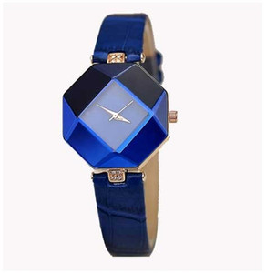 high quality Prismatic watch fashion gift table women Watches Jewel gem cut black surface geometry wristwatches