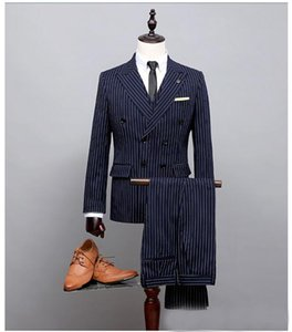 Blue Custom Wool Blue Double Breast White Stripe Suits Ropa Nina Coat Pant Images (Coat+Pants+Vest) Best Man Prom Tuxedos