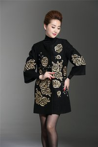 New autumn winter european design fashion luxury embroidery flower three quarter sleeve long trench woolen coat plus size M-3XL
