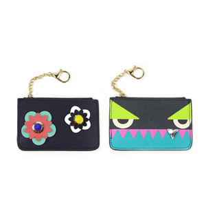 New 2016 design cute mini monster women PU leather key wallet lady trendy flower stud coin purses card wallets for female 111107 on Sale