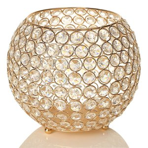 Wholesale Gold Ball Crystal Candle Holders Floor Vases Table Centerpieces Candelabra For Wedding Candlelight Dinner Christams Home Decoration cm