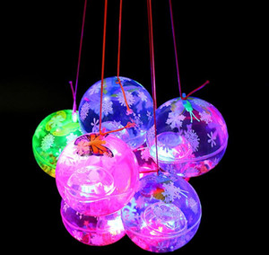 Wholesale Led flash bouncing ball novelty light up bounce ball with Elastic String toy Bouncy Balls kids Party Favors Xmas Glow Hanging Decor