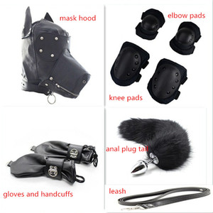 bdsm Dog Slave Game Items Mask Hood Bondage Gloves Elbow Pads Knee Guard Stainless Steel Metal Anal Plug Tail Sex Toy For Couple