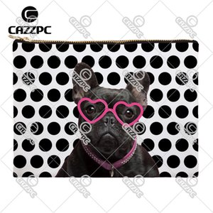 Wholesale- Black and White Polk Dot Funny Bulldog With Glasses Dog Canvas Pattern Print Cosmetic Bag Makeup Pouch Wristlet Hand Bag