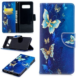 For Samsung Note 8 S8 Plus Cover Painted PU Leather Cases Flip wallet Card Blue Background Butterfly Design Phone Bags