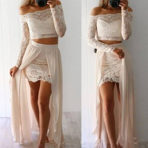 Wholesale 2019 Two Pieces Prom Dresses Sexy Sheer Long Sleeves Off the Shoulder Mini Short Full Lace Party Wear With Chiffon Overskirts Dresses DTJ