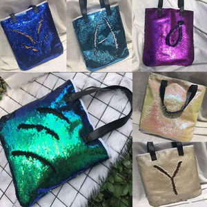 Wholesale New Mermaid Sequin totes Bags Mermaid Bright Handbags Glitter Sequins Totes Glow Reversible Shopping Bags Designer Fashion Bags free ship