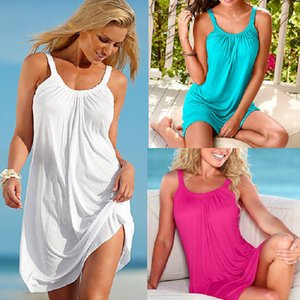 Wholesale Stylish sexy seaside dress summer strap dress women casual skirts sleeveless halter round neck loose plus size with elastic design ML