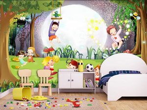 Wholesale wallpaper for walls d Dream Forest D cartoon wood wall paper