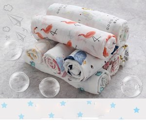 Wholesale 120x120cm Ins flamingo double layer bamboo cotton Bath towel Ins Flamingo Swaddle Blankets Functions Baby Swaddle Blanket