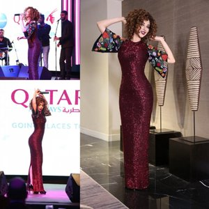 Myriam Fares Burgundy Sequined Sheath Prom Dresses With Back Embroidered Sleeves Back Split Floor Length Evening Gowns Cocktail Party Dress on Sale