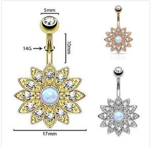 Wholesale bell flowers resale online - Good quality Exquisite flower diamond navel bell button rings gilding the body of popular piercing jewelry three colors