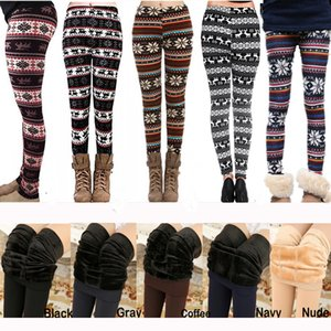 Wholesale 50pcs Lot Xmas Winter Leggings for Women Fur Thick Warm Fleece Snowflake Deer Printed Lady's Black Tights Pencil Bodycon Pants 12 Colors