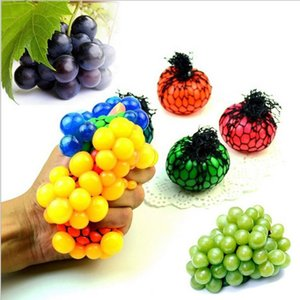 Wholesale 6cm Cute Anti Stress Face Reliever Grape Ball Autism Mood Squeeze Relief Healthy Toy Funny Gadget Vent Decompression toys Ball