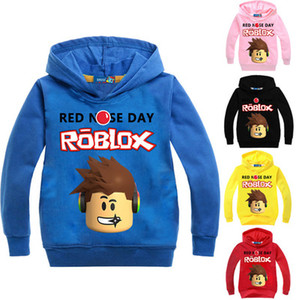 2017 Autumn Roblox T-shirt For Kids Boys Sweayshirt For Girls Clothing Red Nose Day Costume Hoodied Sweatshirt Long Sleeve Tees on Sale