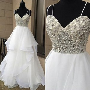 Sexy 2019 White Spaghetti prom dresses backless Pears Chiffon Ruffles party Evening Dresses Short cocktail pregnant Beadings Sequin gowns on Sale