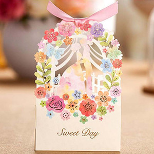 Wholesale new Romantic Wedding Gift Box Elegant Luxury Decoration Flower Bride Laser Cut Party Sweet Favors Wedding Paper Candy Box