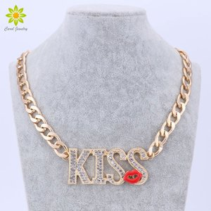 Wholesale Fashionable KISS Letters Pendant Necklace Girl s Sexy Summer Jewelry Red Lips Design Gold Color Chain Necklace