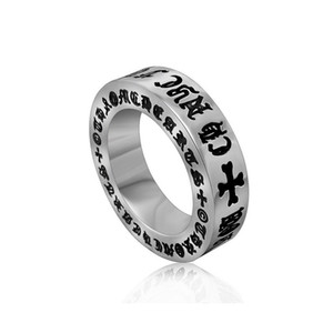 Men's vintage roman alphabet stainless steel rings designer titanium steel metal mixed tail rings jewelry accessories