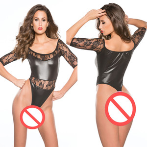 Lace Half Sleeve Women Bodysuit Faux Leather Lingerie Sexy Ladies Teddy High Cut One Piece Underwear