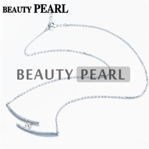 Wholesale HOPEARL Jewelry Necklace Blank for Pearls Mounting Two Lines Zircon Silver Link Chain Base Pieces