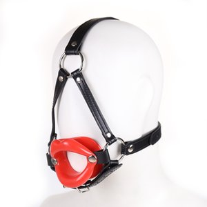 Wholesale Leather head harness bondage Open mouth gag restraint solid red big lip Adult fetish products Sex games toys for women men