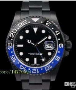 Wholesale 2016 Mens Luxury Supplier Top Quality Mens II Black Blue Ceramic Bezel LN Automatic stainless steel Black PVD Men s Watches