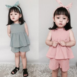 Wholesale girls fashion suits summer vest dress+shorts Linen cotton two-piece summer clothing sets baby girls beach dress high quality baby suit cloth