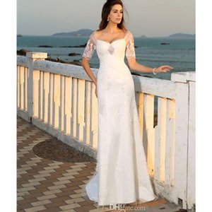 Wholesale Beach Wedding Dresses Short Sleeve Sheath Beads Bridal Gowns 2019 New Tulle Transparent Appliques Sweetheart Sexy Sweep Train Unique