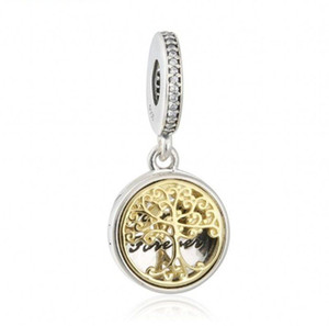 Authentic 925 Sterling-Silver-Jewelry Gold Plated Family Roots Charms Pendants Tree Locket Beads For DIY Brand Bracelets Jewelry Making