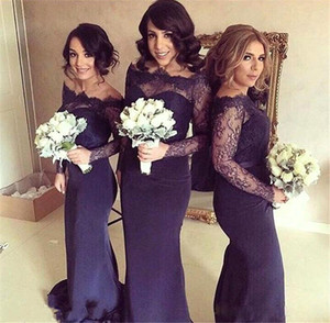 Wholesale Dark Navy Blue Off Shoulder Lace Long Sleeve Bridesmaid Dresses For Wedding Mermaid Floor Length Maid Of Honor Gowns Formal Dresses