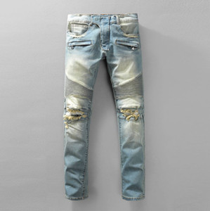 Luxury Brand Designer Jeans Men Runway Biker Slim Washed Pants Vaqueros Mens Denim Trousers Casual Jeans