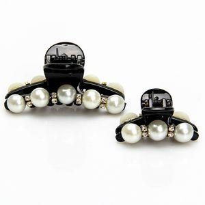 12pcs lot Women Claws Pearl Clips Black Hairpins Small Big Hair Ornaments Fashion Headdress Rhinestone Horsetail Barrettes Accessories